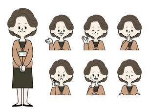 中年女性職員の表情セットのイラスト素材 [FYI04885699]