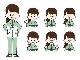女性職員の表情セットのイラスト素材 [FYI04885706]
