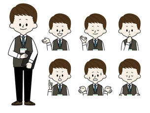 男性職員の表情セットのイラスト素材 [FYI04885735]