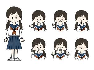 女子学生の表情セットのイラスト素材 [FYI04885758]
