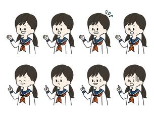 女子学生の表情セットのイラスト素材 [FYI04885761]