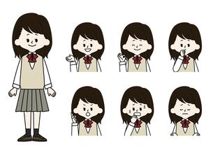 女子学生の表情セットのイラスト素材 [FYI04885792]