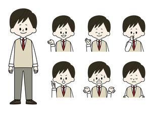 男子学生の表情セットのイラスト素材 [FYI04885808]