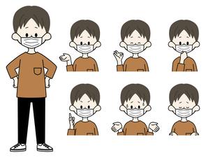 マスクをしている男性の表情セットのイラスト素材 [FYI04885821]
