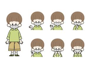 マスクをしている男の子の表情セットのイラスト素材 [FYI04885827]