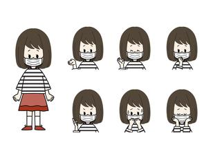マスクをしている女の子の表情セットのイラスト素材 [FYI04885833]