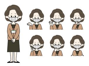 マスクをしている女性職員の表情セットのイラスト素材 [FYI04885873]