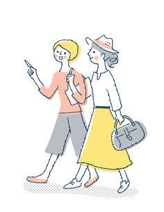 笑顔で歩く2人の女性のイラスト素材 [FYI04886056]