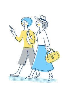 笑顔で歩く2人の女性のイラスト素材 [FYI04886057]