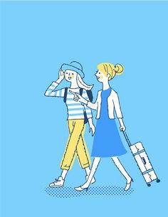 笑顔で歩く2人の女性のイラスト素材 [FYI04886059]