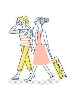 笑顔で歩く2人の女性のイラスト素材 [FYI04886060]