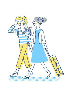 笑顔で歩く2人の女性のイラスト素材 [FYI04886061]
