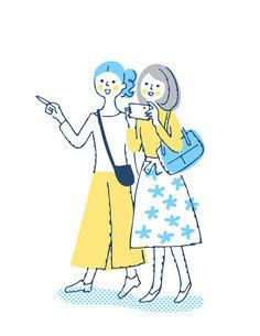笑顔で歩く2人の女性のイラスト素材 [FYI04886063]