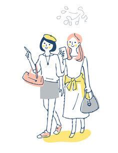 笑顔で歩く2人の女性のイラスト素材 [FYI04886065]