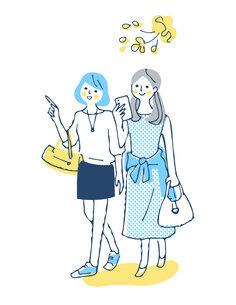 笑顔で歩く2人の女性のイラスト素材 [FYI04886066]