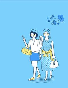 笑顔で歩く2人の女性のイラスト素材 [FYI04886076]
