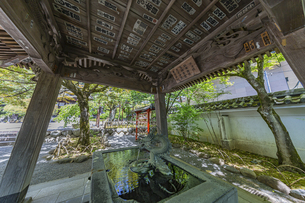 伊豆修禅寺 境内にある温泉の湧き出る水屋と絵馬掛けの写真素材 [FYI04886120]