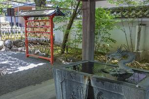伊豆修禅寺 境内にある温泉の湧き出る水屋と絵馬掛けの写真素材 [FYI04886121]
