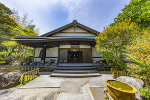 伊豆修禅寺 様々なポーズで座る地蔵が並ぶ檀信徒会館の写真素材 [FYI04886148]