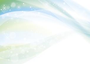 グリーンのウェーブ 抽象的な背景のイラスト素材 [FYI04886556]