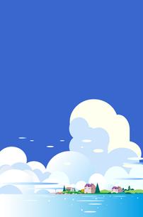 積乱雲の青空と海と街並みのイラスト素材 [FYI04886798]