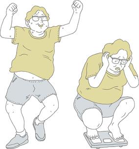 拳を上げる肥満男、体重を量る肥満男のイラスト素材 [FYI04886884]