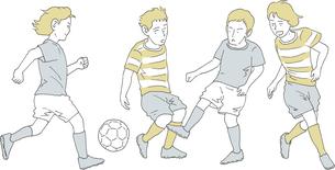 サッカーで競い合う4人の男のイラスト素材 [FYI04886886]