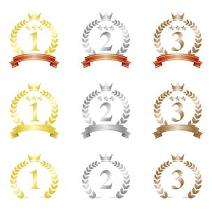 金銀銅の月桂樹フレームアイコンセットのイラスト素材 [FYI04886928]