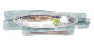 焼き秋刀魚の水彩画のイラスト素材 [FYI04887031]