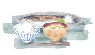 秋刀魚とご飯と味噌汁のセットのイラスト素材 [FYI04887032]