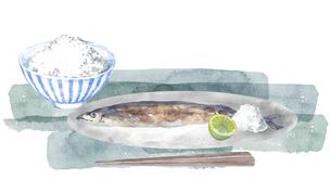 秋刀魚と白ごはんのセットのイラスト素材 [FYI04887033]