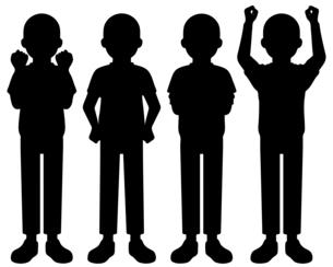 立っている人物の全身イラスト 【シルエット】のイラスト素材 [FYI04887425]