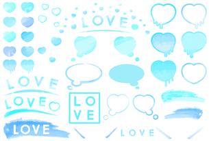 ハートやLOVEのロゴデザインのバリエーションイラストのイラスト素材 [FYI04887428]