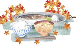 秋刀魚とご飯と味噌汁のセットのイラスト素材 [FYI04887867]