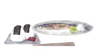 秋刀魚とおにぎりの水彩画のイラスト素材 [FYI04887868]