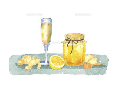 ハチミツとショウガとレモンのドリンクのイラスト素材 [FYI04887874]