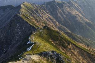 島田娘の頭から中央アルプス南陵の眺めの写真素材 [FYI04888041]