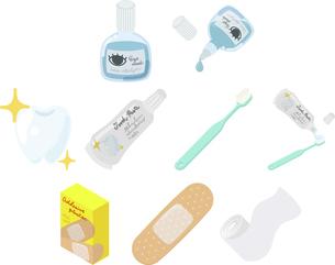 目薬や歯磨き粉や絆創膏や包帯などの日常的な医療品のアイコンのイラスト素材 [FYI04888194]