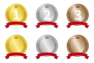 メダル型 ランキングアイコンセットのイラスト素材 [FYI04888260]