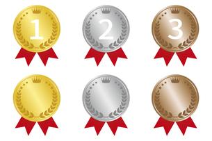 メダルにリボン ランキングアイコンセットのイラスト素材 [FYI04888267]