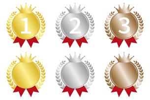 メダルにリボン ランキングアイコンセットのイラスト素材 [FYI04888268]