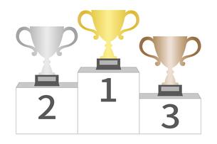 表彰台と優勝カップのイラスト素材 [FYI04888686]