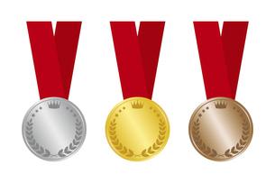 金銀銅のメダル リボンつきのイラスト素材 [FYI04888688]