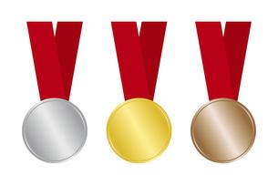 金銀銅のメダル リボンつきのイラスト素材 [FYI04888689]