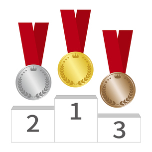 表彰台とメダルのイラスト素材 [FYI04888691]