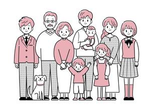 家族三世代 集合 シンプルタッチのイラスト素材 [FYI04888725]