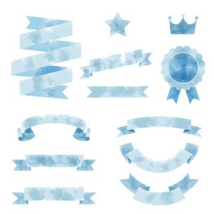 水彩画タッチのリボン素材セットのイラスト素材 [FYI04889033]