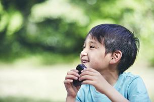 屋外でおにぎりを食べる男の子の写真素材 [FYI04889099]