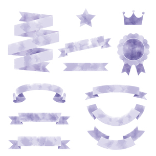 水彩画タッチのリボン素材セットのイラスト素材 [FYI04889675]