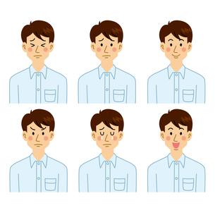 男性表情パターンのイラスト素材 [FYI04890115]